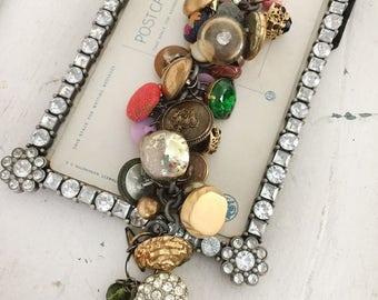 dressed~upcycled button charm bracelet, vintage buttons, rhinestone button bracelet, repurposed button jewelry, boho, shabby, handmade