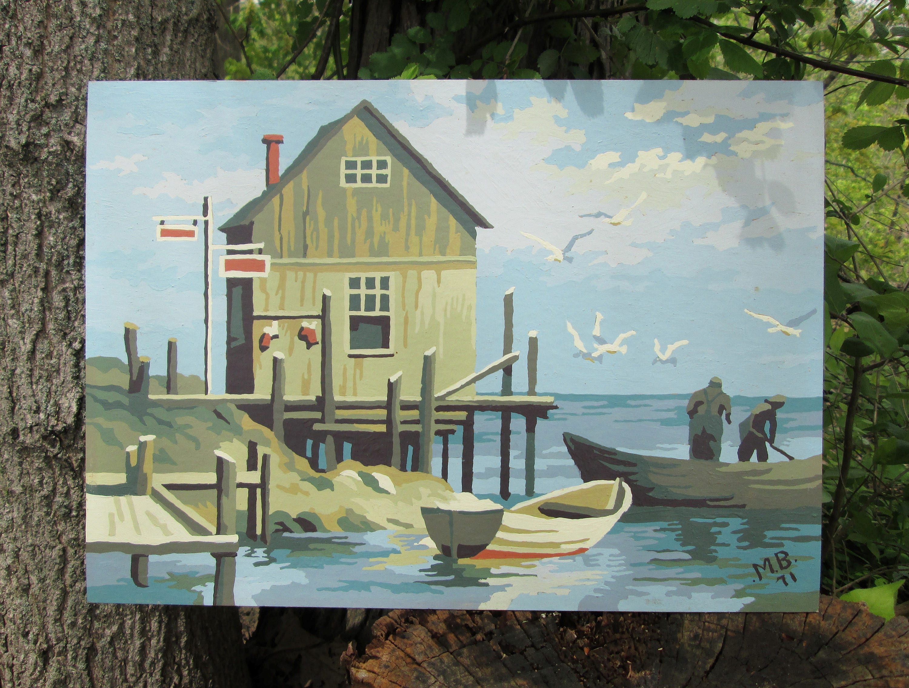 Craft master paint by number kits -  Number Blue Water Bay Craft Master Mid Century Pbn Unframed Painting Zoom
