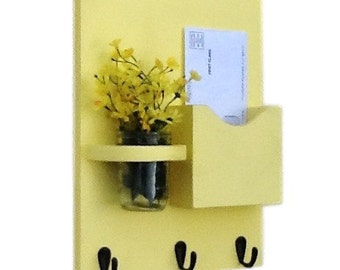 Mail Organizer - Letter Holder - Mail Holder - Key Hooks - Key Rack - Jar Vase - Organizer Yellow