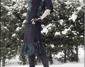 Skirt - Steampunk - Burning Man - Playa Wear - Knee Length - Black and Turquoise Velvet - Bohemian Gypsy - Sexy - Size Large