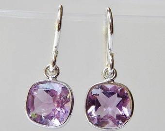 Cushion Cut Amethyst Earrings - Sterling Silver Bezel Set Dangle Earrings February Birthstone Drop Earrings