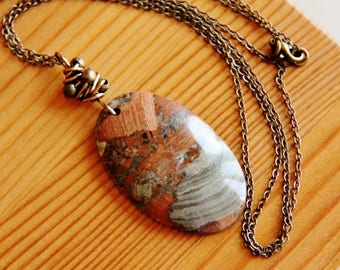 Brecciated jasper pendant necklace, red jasper necklace, gemstone necklace, natural stone necklace, earthy necklace, long boho necklace