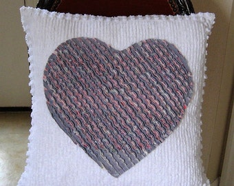 """Handmade Faux Chenille Heart on White Chenille 19"""" x 19"""" -includes insert"""