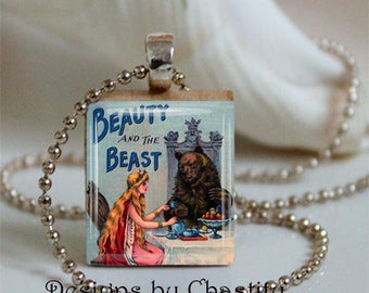 Beauty and the Beast Necklace Original Art Work Scrabble Charm
