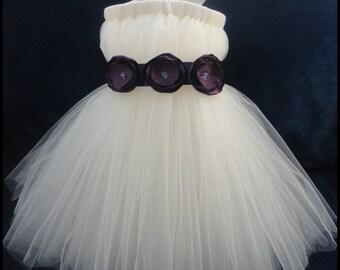 Eggplant Flower Girl Dress, Little Girls, Toddler Girls, Baby Girls, Flowergirl Dress, Tutu Dress