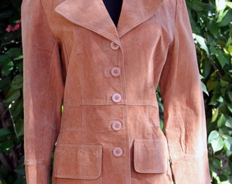 Caramel Suede Lightweight Leather Coat Size M