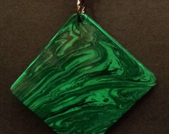"Malachite Tru-Stone Acrylic Pendant With 24"" Black Ball Chain Necklace"
