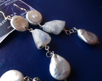 Sterling Silver, Natural Rainbow Moonstone huge faceted  Nuggets and Pearls Earrings