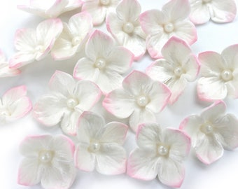 White Iridescent Hydrangea Wedding Cake Decoration with Pink Edge-Set of 48