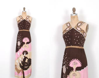 Vintage 1970s Dress / 70s Paganne Printed Maxi Dress / Pink and Brown ( small S )