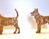 RESERVED for Terri H. Two scroll saw cut handmade wooden dog puzzles