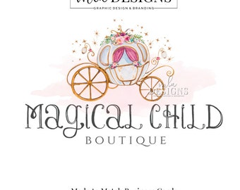 Carriage Logo, Princess Logo, Boutique Logo, Floral Logo, Watercolor Logo, Princess Carriage Logo, Premade Logo, Custom Logo Design