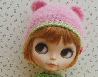 Pink and green watermelon mohai bear hat helmet for Neo Blythe