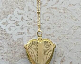 Antique Spider Web Locket Necklace, Art Deco Locket, Angel Wings Locket, Gold Filled Locket, Heart Locket, Rare Locket, Unusual Shape Locket