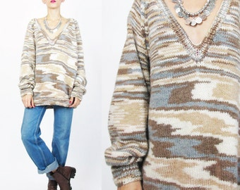 80s Vintage Space Dyed Sweater Striped Slouchy Pullover Jumper V Neck Sweater Brown Cream Grey Loose Knit Winter Womens Sweater (M/L)