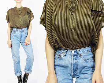 1980s Striped Tuxedo Blouse Sheer Striped Blouse Black and Yellow Top Vertical Striped Chiffon Short Sleeves Slouchy Button Up Top (M/L) E99