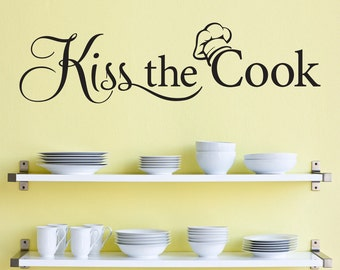 Kiss the Cook Decal - Kitchen Decor - Chef Wall Decal