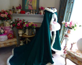 Celtic Green Bridal cape Emerald / Ivory Satin  52/67-inch with Fur Trim Wedding Cloak Handmade in USA