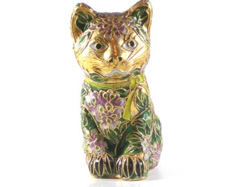 Cloisonne Cat Figurine - Vintage Home Decor - Enamel Collectable Cat