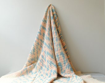 Vintage Crocheted Blanket, Handmade Afghan Granny Blanket, Pastel Pink and Blue Blanket