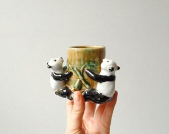 Vintage Plant Pot, Panda Bamboo Pot