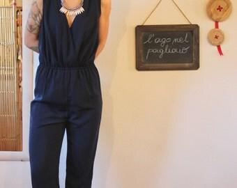 Blue elegant jumpsuit, navy jumpsuit