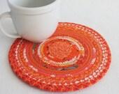 Coiled Rope Mat / Fabric Coiled Mat / Mug Rug / Trivet / Hot Pad / Orange Bohemian Round by PrairieThreads