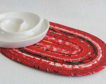 Fabric Coiled Mat / Coiled Rope Mat / Placemat / Hot Pad / Trivet / Red Hot Oval Coiled Mat by PrairieThreads