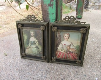 Adorable PAIR of Heavy Antique Brass Backed Filigree Victorian/Edwardian Ornate Small Picture Frames w/Old Prints ~ Boudoir Home Decor ~