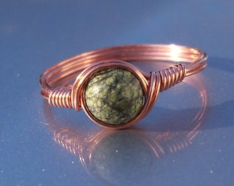 Russian Serpentine Copper Wire Wrapped Ring
