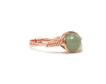 Green Aventurine Copper Custom Sized Wire Wrapped Ring