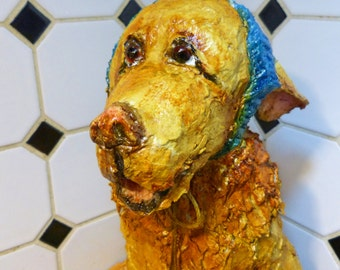 Hand Sculpted Paper Mache Clay Puppy Dog by Maure Bausch