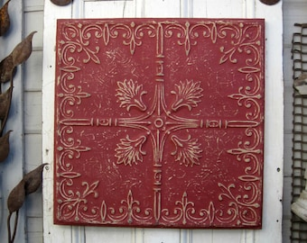 Antique PRESSED TIN. FRAMED Tin Ceiling Tile.  Architecture salvage. Red metal Tuscan wall decor. Vintage wall hanging.
