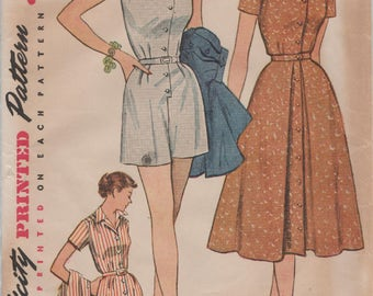 Simplicity 4289 / Vintage 50s Sewing Pattern / Shorts Romper Playsuit Overskirt Skirt / Size 16 Bust 34
