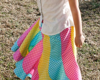 Girls Long Handmade Teal, Yellow and Pink Polka Dot Swirly Twirl Skirt Size 8/10