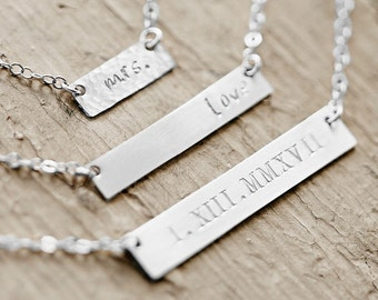 Name Plate Necklace, Name Bar Necklace, Sterling Silver Nameplate, Custom Name, Choose From 3 Sizes