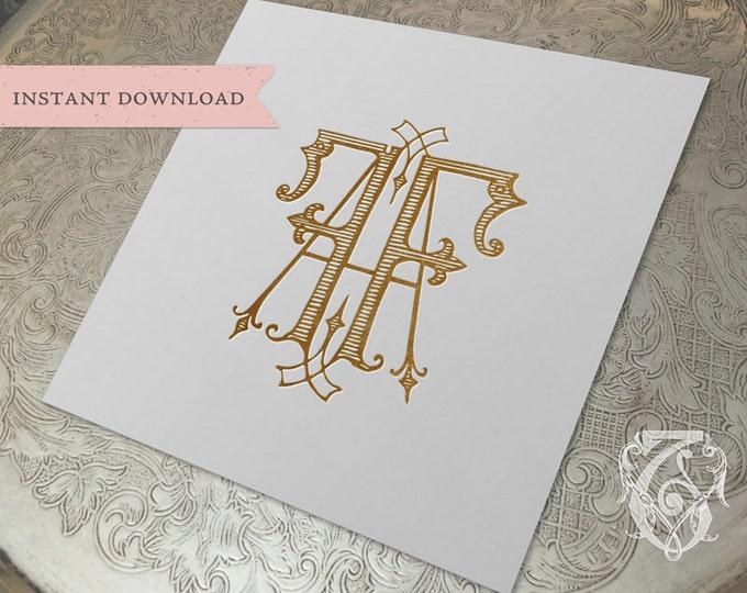 Vintage Wedding Monogram AF FA Digital Download A F
