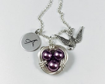Wire Wrapped Bird Nest Necklace - with Hand Stamped Initial Tag and Sparrow Charm, Pearl Bird Nest, Mothers Day Gift, Egg Nest