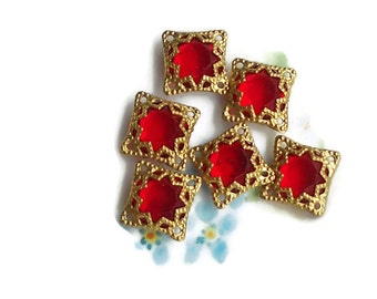 Vintage Filigree Findings Charms Pendants Gold Tone Old Red Beads Connectors, Square Ruby Components. #755