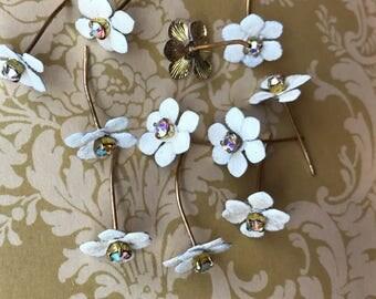 Rhinestone Headpins, Vintage Headpins,Hobe Flowers, Rhinestone headpins, AB Aurora Borealis, NOS N533
