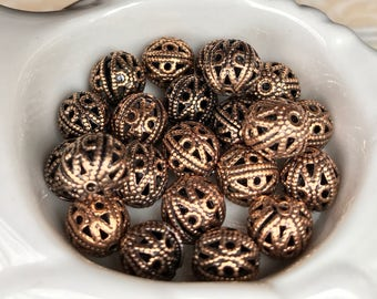 Vintage Filigree Beads,Antique Brass OX Beads,Vintaj Beads,Steampunk beads,Antique brass ox beads,round filigree beads,#1689