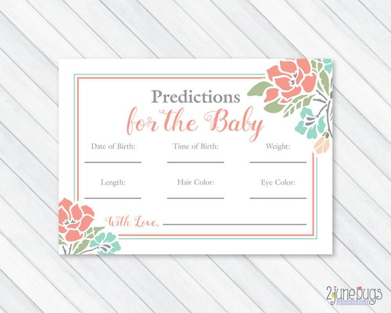 Floral baby shower prediction cards baby statistics game for Guess the baby weight template