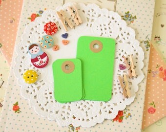 Lime Green reinforced Rounded Midi Tags