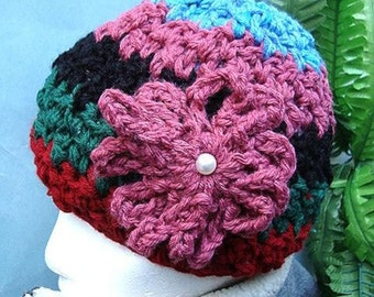 crochet pattern, hat,  COLOR BLOCK HAT, companion to Color Block Cowl,   number 29  Crochet for beginners