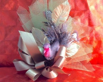 Rare THANKSGIVING  Holiday Corsage Spun Cotton Turkey Real Feathers Ribbon Silk Leaves Mesh Holidays Gift 1960's Dress Accent