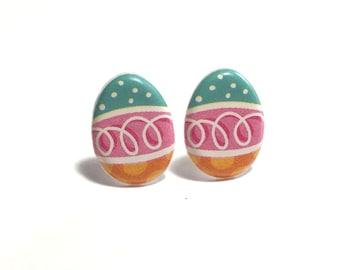 Easter Egg Earrings, Easter Earrings, Post Earrings, Gift, Gift for her, Easter, under 5 dollars, Kawaii Earrings, Pink, Weird Jewelry
