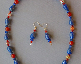 Lapis and Carnelian Necklace Set Lapis Drops w Small Rust Orange Carnelians Matching Earrings Blue and Orange Colorful Gemstone Jewelry