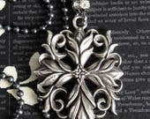 NEW! - CROSS Vintage Sterling Silver Repousse Filigree Pendant Assemblage Necklace. Sterling Ball Chain. Inspired By Anne Boleyn