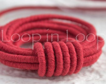 Red Coral Linen Cord, Wrapped Thread rope, 3.5mm thick bracelet necklace Tubing Soft Fiber Jewelry cord polyester core