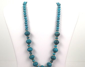 Vintage 1980s Turquoise Beaded Necklace